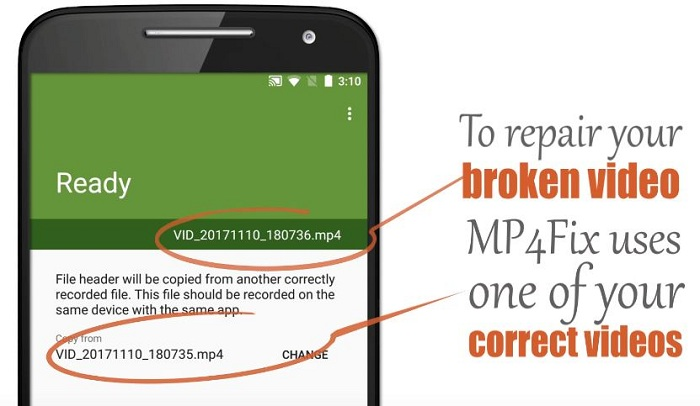 MP4Fix Android Corrupted MP4 Repair Using Correct File