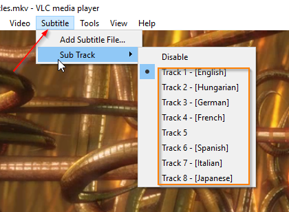 Check your MKV subtitle tracks with VLC