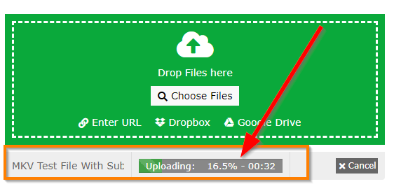 Video Online Convert Page file upload progress