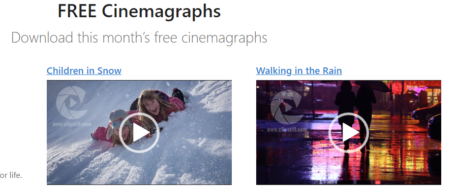Clipstill free cinemagraphs