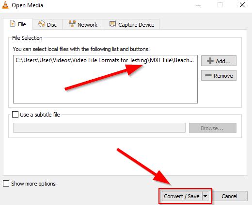 convert MXF to MP4 free VLC 3