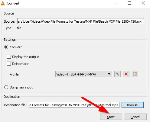 convert MXF to MP4 free VLC 6