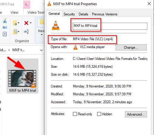 convert MXF to MP4 free VLC 7