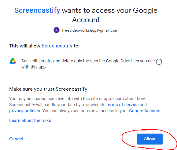 Allow Screencastify to access your Google Account