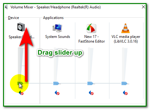 raise the volume level in the volume mixer console  for no sound on youtube video