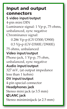 2 Sony GV-D300 mini-DV VCR specs