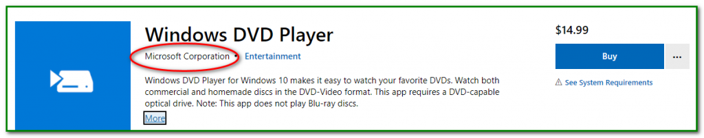 Microsoft Windows10 DVD Player Microsoft Store