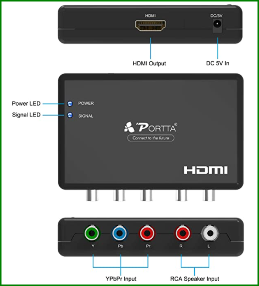 component video to HDMI adapter